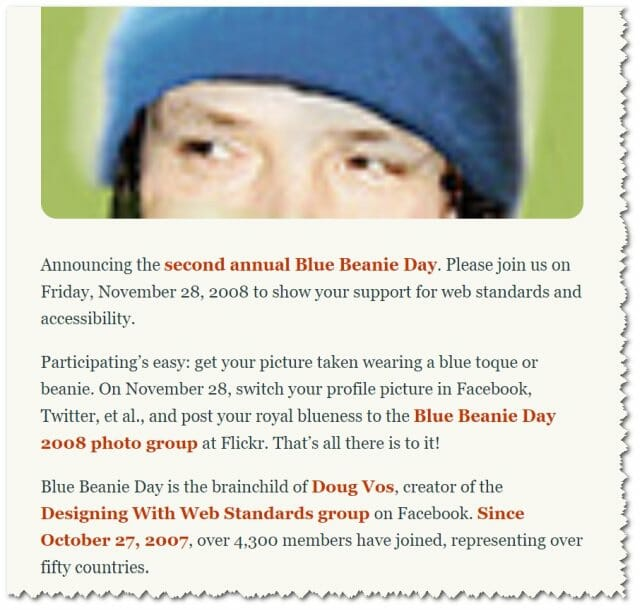 Zeldman - Blue Beanie Day - archives