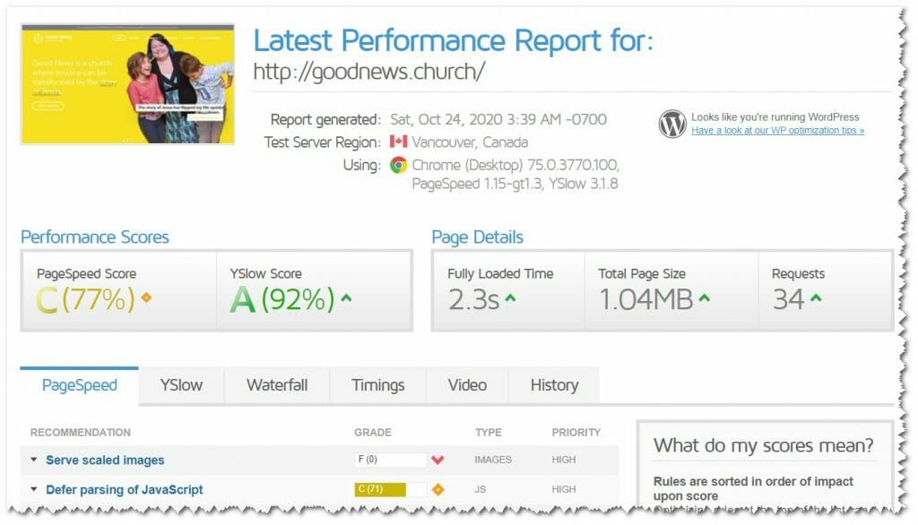 Evaluating the Good News Church website. Performance report from GTMetrix. PageSpeed score = 77%, and YSlow score = 92%