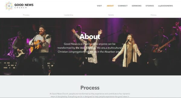 Evaluating a church website. Good News Church - screen capture from the 'About' page. Man with beard playing acoustic guitar. Men in background playing electric bass, and electric guitar. 2 people in foreground worshiping God with arms outstretched.