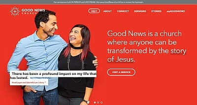Good News Church home page screen capture. White letters on a red background.