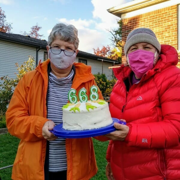 2020 covid19 style birthday celebration. Jane's two sisters are wearing face masks.