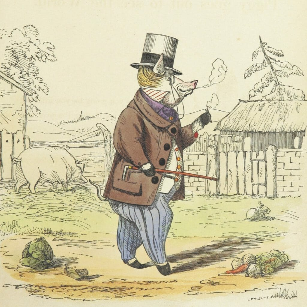 Smart Pig Art - Precocious Piggy walks to town while smoking a cigar.