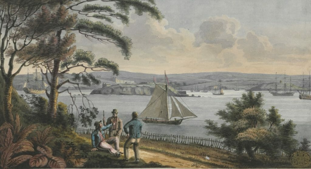 View of Drake Island, the Citadel of Plymouth, with Cat Water, Mount Batton and the Sound, from the Cottage on Mount Edgcumbe