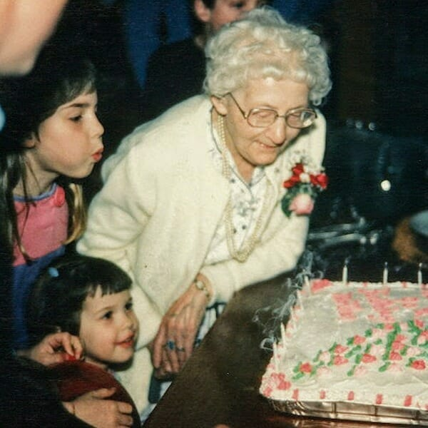My grandmother, Allie Hoekstra. Blowing out the candles at her 90th birthday party.