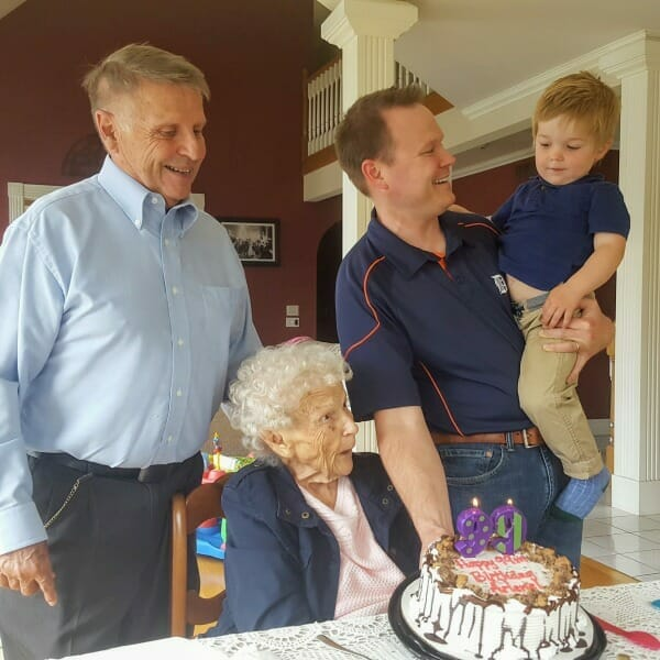 Grandma Weigler's 99th birthday celebration. There are four generations of the Weigler family here.