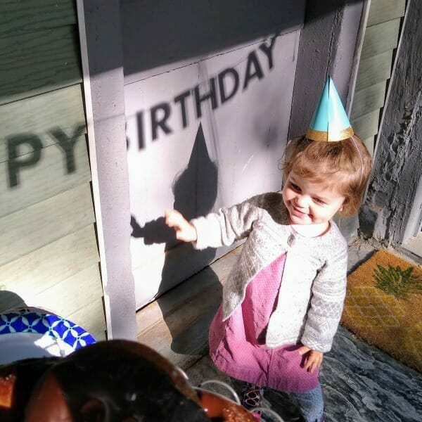 My grand-daughter Maple - wearing a pointy party hat on her birthday. Celebrating her 2nd birthday - in Unionville, New York.