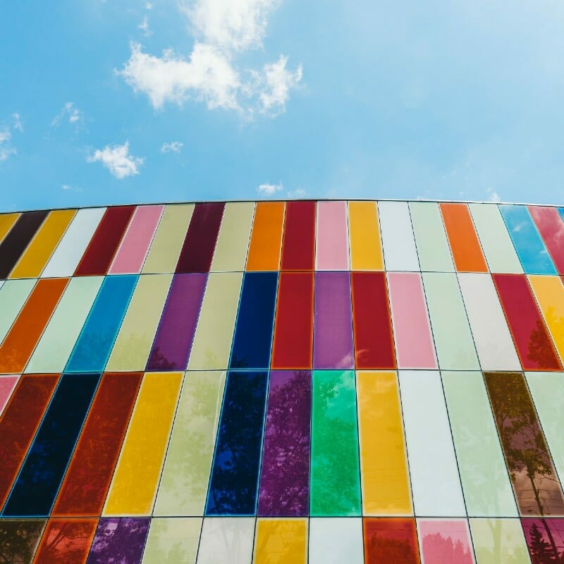 Colorful tiles or glazed panels on the walls of Waterloo Museum - in Kitchner, Ontario.