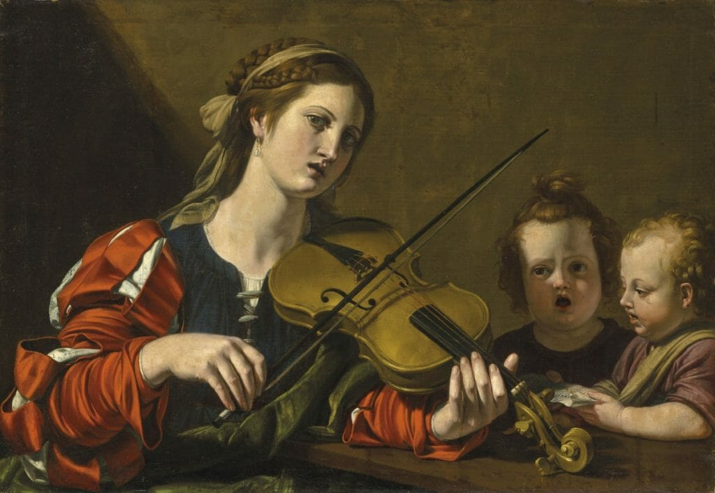 Woman playing violin with two children singing
