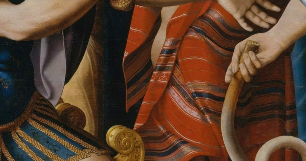 Patterns in art - The red striped robe contains many repeating patterns.