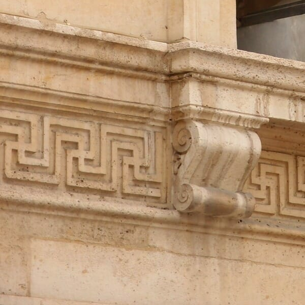Example of meander architectural motif found on building in Paris, France.