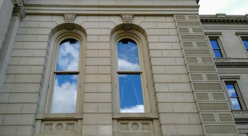 Fancy keystones at the Michigan capitol building.